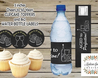 Aged to Perfection Cupcake TOPPERS and WATER BOTTLE Labels - Instant Download - Digital Printable - Aged to Perfection Birthday.