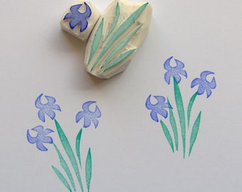 Iris flower Rubber Stamp, iris stamp, flower stamp, floral stamp, plant stamp, garden flower, flowers stamp, scrapbooking, cardmaking, diy