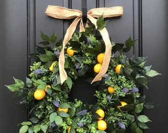NEW 2018 SUMMER WREATHS, Yellow Lemons Wreath, Boxwood and Lemons, Lavender and Lemons Wreath, Summer Door Wreaths, Front Porch Wreaths