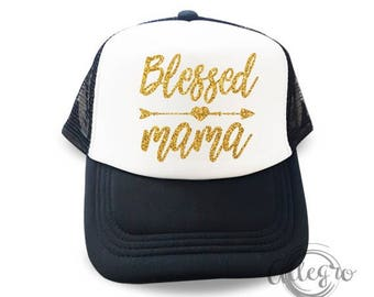 Blessed Mama Hat Mother Gift Mesh Truck Hats Mother day Fashion Cap Hologram Cap Fashion Hats