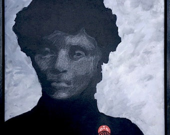 """Lucy Parsons Portrait  14- 18"""" Painting Acrylic on Stretched Canvas Black Activist Anarchist Organizer Haymarket Chicago Wired for Hanging"""