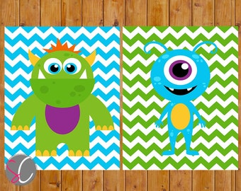 Instant Download Cute Monster Wall Art Decor Nursery Child's Boys Room Wall Decor Blue Green Chevron Set of 2 size 8x10 Printable JPGs (59)