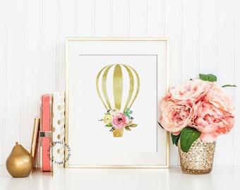 Hot Air Balloon Nursery Prints, Hot Air Balloon Print, Printable Art, Faux Gold, Shabby Chic, Floral, Nursery Wall Art, Instant Download