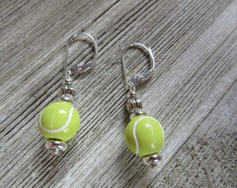 Tennis earrings - sports earrings - tennis ball earrings - tennis player jewelry - optic yellow - tennis ball earrings