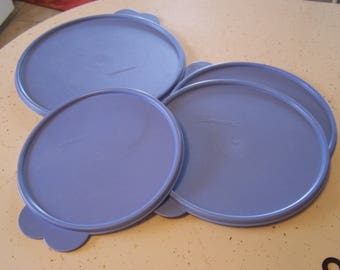 Vintage Blue Replacement Lids for Tupperware Bowls, Double Tab, Tupperware Bowl Lids, 2517,2516, 2515