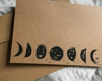 Moon Cycle Handstamped Linocut Card