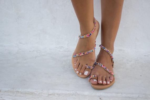 ''Adelita'' Sandals Sandals Sandals Colorful Sandals Leather Boho Pom Sandals Pom Greek Sandals RiRiPoM Gypsy 7xOvqc6