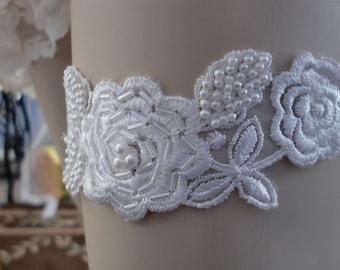 Bridal Garter Vintage Beaded Lace Trim on Lingerie Elastic