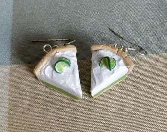 Key lime pie earrings - Food jewelry made with polymer clay