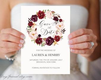 Burgundy Rose Wreath Wedding Save the Date Template, Printable Wedding Save the Date Card, Floral Rustic Boho, fits Vistprint, DIY PDF #101