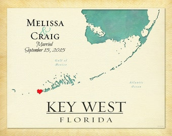 Custom Map of Key West, Custom Anniversary Gift Print, Personalized Wedding Gift, Travel Keepsake Canvas, Gift for Spouse, Custom Map Art