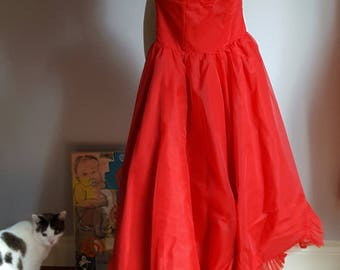 1950's red chiffon, party dress, tons of tulle ruffles