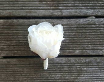 SILK PEONY IVORY Buttonhole Wedding Boutonniere for Grooms made with artificial silk peonies