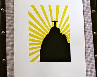 Rio De Janeiro Brazil Silhouette: 5X7 Art Print, With Heart Studios - Poster, Vintage, Nursery, Gift
