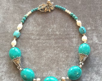 Turquoise, crystal, silver and pearl necklace