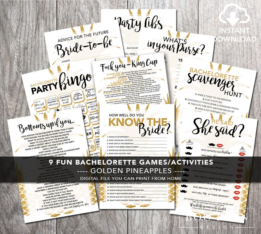 Gold Pineapple Bachelorette Weekend Party Games Printable