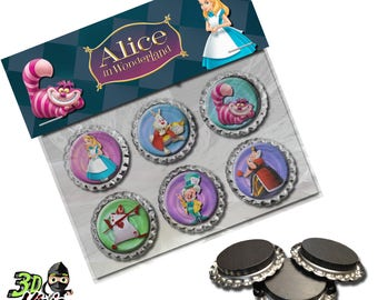 Alice in Wonderland Magnets | Bottle Cap Magnets | Party Favors | Gift