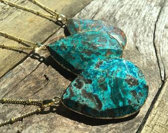 Atlantis Crystal Ocean jasper necklace Electroformed Gemstone necklace Gold turquoise necklace Blue agate necklace 14k gold filled option