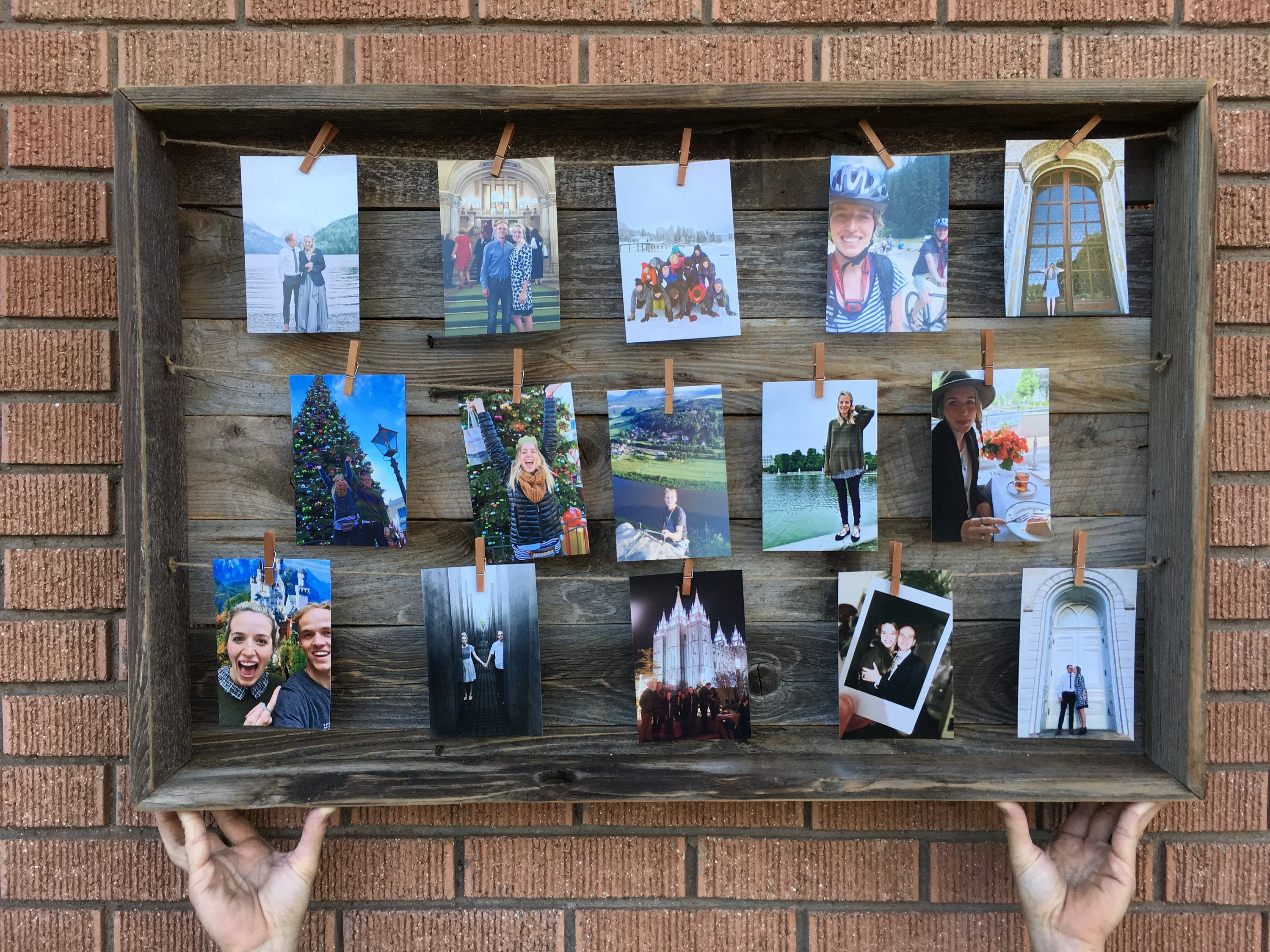 SALE OFF Rustic Barn Wood Clothespin Picture Frame