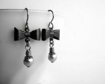 Black Bow Earrings Pale Grey Pearls Swarovski Elements Gothic Jewelry Cute Charms Niobium Hooks for Sensitive Ears Monochromatic