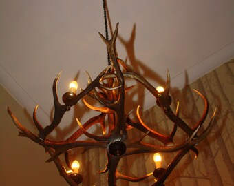 Antler chandelier metalized in real iron antler chandelier lighting from scottish red deer aloadofball Gallery