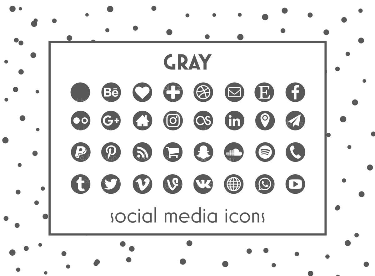Social Media Icons Gray Icon Gray Button Social icons