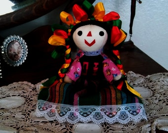 small Mexican cloth folk doll ~ Ethnic Mexican Cloth ribbon doll 8 inches