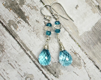 Blue Topaz faceted briolettes and sterling silver earrings - Happy Days