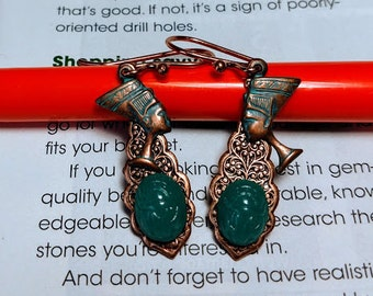 Queen Nefertiti scarab antiued patina copper earrings Egyptian Revival