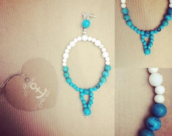 925 Silver studs and gemstone pendant white jade, Turquoise and white agate