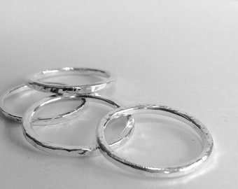 Sterling silver hammered thumb ring