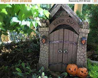 "SALE Mini Halloween Gate, ""Keep Out"" Gate with Gargoyles and Pumpkins, Home and Garden Decor, Miniature Garden Accessory, Decor, Topper"