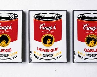 Dynasty Rich Bitch Trio  - Alexis, Dominique and Sable - original framed Pop Art Soup Set