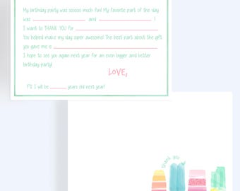 Popsicles Thank You Note // Fill In The Blank Thank You Card