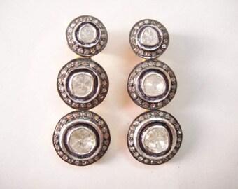 Diamond slice rosecut diamond dangle earrings diamond jewelry