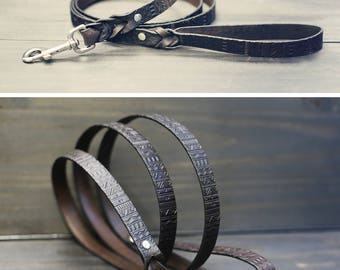 Leash, Leather dog leash, Dog leash, 3/4 inch Wide Braided Leather Lead 4ft 5ft 6ft, Strong leash, Handmade, Aztec tribal pattern, Black