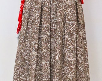Vintage 1950s Mr. Mort Tribal Print Full Pleated Skirt