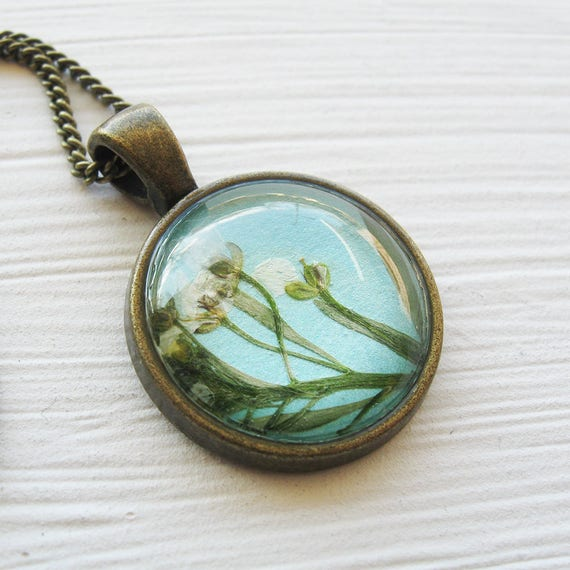 Real Pressed Flower Necklace - Pressed Alyssum Necklace in Turquoise