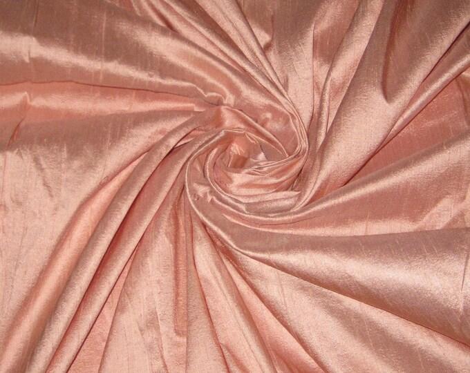 """Peach 100% dupioni silk fabric yardage By the Yard 45"""" wide"""