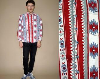 80's vintage men's blue-red Aztec patterned winter flannel shirt