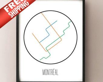Montréal, Canada - Minimalist Metro Subway Art Print - Métro de Montréal