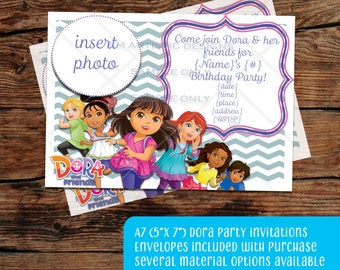 INDIVIDUAL Dora and Friends Birthday Party Invitations}Custom}A7}Envelopes included} Photograph invitation} Printed for you by me