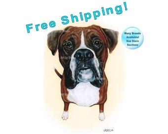 Boxer, Boxer Art, Boxers, Boxer Print, Boxer Painting, Boxer Portrait, Boxer Drawing, Boxer Dog, Dog Breeds, Boxer Gift, Free Shipping!