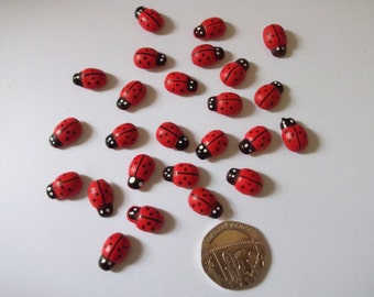 25 x Wooden LadyBird for Crafts, Cardmaking with self adhesive sticker on base