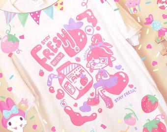 Stay Fresh//Fresa Splatoon Inspired Fanart T-Shirt - Kawaii Shirt