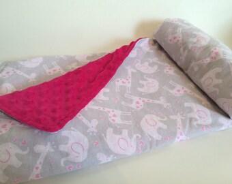 Nap Blanket - Pink zoo Animals