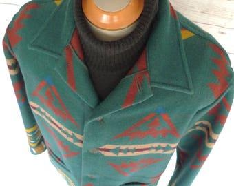 Vintage Sz L PENDLETON High Grade WESTERN Wear WOOL Blanket Coat Navajo Jacket