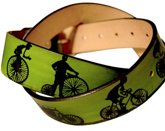 Bicycle Print Leather Belt - A History of Cycling