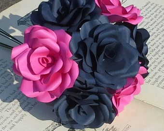 6 x Navy Blue & Hot Pink Paper Roses Bouquet, Handmade Roses, Romantic Gift, Wedding Flowers, Paper Flowers