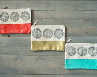 Large zipper pouches, Set of 3, Block printed zip pouches, Cosmetics bag, Pencil case, Clutch, Bridesmaid gifts, Set of bridesmaid gift bags
